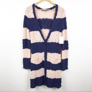 🆕 FREE PEOPLE Cuddle Rugby Striped Cardigan M